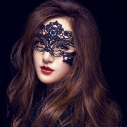 霏慕配件蕾丝镂空黑色眼罩女王面具